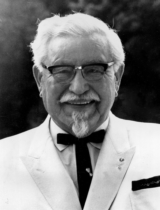 Col. Harland Sanders, 77, head of the multimilion-dollar Kentucky Fried Chicken chain, is shown in 1968.  (AP Photo)