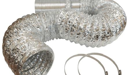 Ống bạc mềm hút hơi nóng và khói bụi - nhà bếp - nhà xưởng - quạt hút mùi