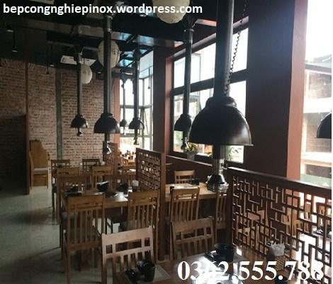 ống hút khói có chao đèn màu nâu cafe tại Quảng Ninh